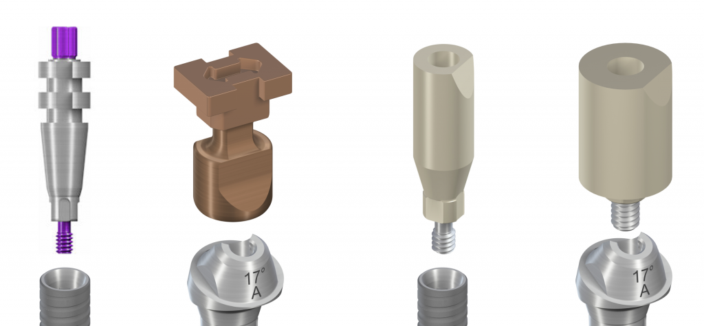 Figs 5-6: Scanbodies for implant and abutment level impressions correspond to implant and abutment impression transfers; scanbodies of various heights for a specific implant system may also be found on the market